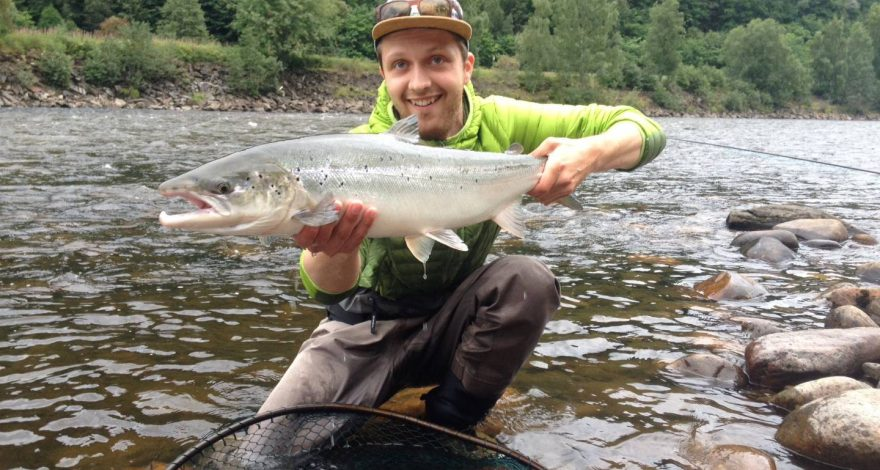 Michal Vavro with his sealiced salmon from Beat M