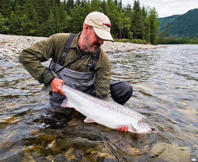 Jeff Bright holds a perfect Gaula salmon on Beat B1.