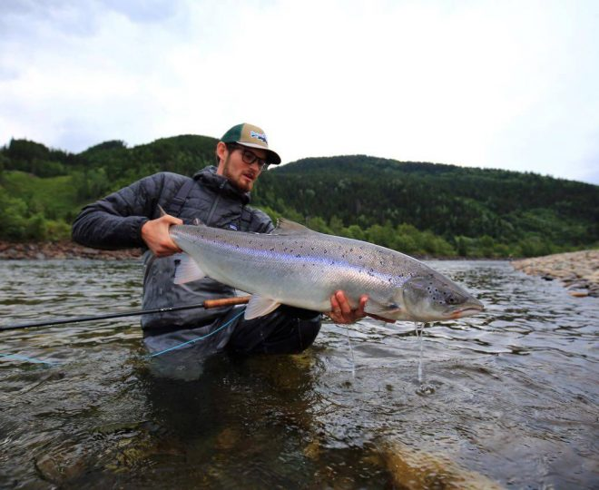 Stephan with his salmon on Beat C2.