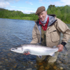 Manfred with the first of his 4 salmon
