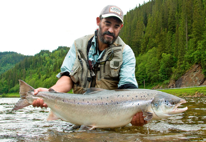 Matt Harris with his big female salmon